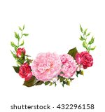 floral wreath with pink peony... | Shutterstock . vector #432296158