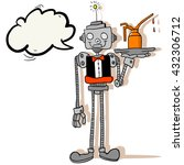 robot waiter with speech bubble ... | Shutterstock .eps vector #432306712