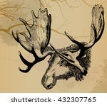 moose watercolor design... | Shutterstock .eps vector #432307765