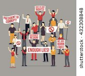crowd protesting people...   Shutterstock .eps vector #432308848