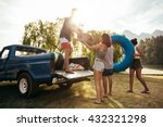 group of young friends on... | Shutterstock . vector #432321298