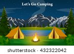 poster showing campsite with a... | Shutterstock . vector #432322042