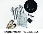 woman summer clothes collage on ... | Shutterstock . vector #432338665