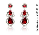 pair of ruby diamond earrings... | Shutterstock . vector #432351112