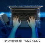 hand typing laptop with it... | Shutterstock . vector #432373372