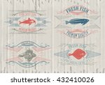 typographical set of fish  ... | Shutterstock .eps vector #432410026