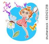 cute little girl catching...   Shutterstock .eps vector #432421258