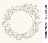 floral wreath round frame.... | Shutterstock .eps vector #432436885