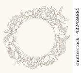 floral wreath round frame.... | Shutterstock .eps vector #432436885