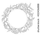 peony flowers wreath design... | Shutterstock .eps vector #432436888