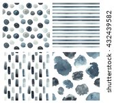 set of seamless watercolor... | Shutterstock .eps vector #432439582