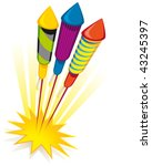 Firework rockets on white background - stock vector