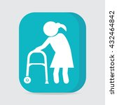 elderly woman and walker symbol ... | Shutterstock .eps vector #432464842