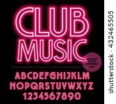 neon bright set of alphabet... | Shutterstock .eps vector #432465505