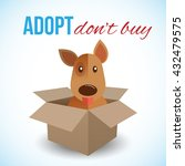 cute dog in a box with adopt... | Shutterstock .eps vector #432479575