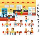 cafeteria vector  people in... | Shutterstock .eps vector #432492916