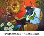 bull reading a book in a wicker ... | Shutterstock . vector #432518806