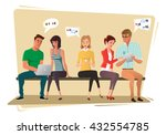 young people sit and use... | Shutterstock .eps vector #432554785