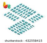 isometric font alphabet with... | Shutterstock .eps vector #432558415
