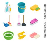 vector set of cleaning tools.... | Shutterstock .eps vector #432563338