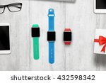 three smartwatch with isolated  ... | Shutterstock . vector #432598342