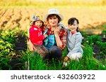 family resting in garden and... | Shutterstock . vector #432603922