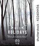 black and white vertical forest ... | Shutterstock .eps vector #432604456