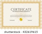 orange certificate template.... | Shutterstock .eps vector #432619615