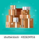 vector pile of stacked sealed... | Shutterstock .eps vector #432624916