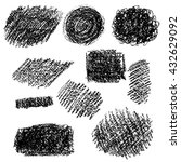 set of black chalk texture.... | Shutterstock .eps vector #432629092