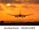 plane is flying to the airport. ... | Shutterstock . vector #432641485