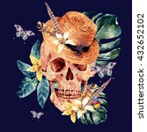 summer watercolor vector skull  ... | Shutterstock .eps vector #432652102