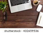 workspace wood table on top view | Shutterstock . vector #432659536