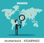businessman holding magnifying... | Shutterstock .eps vector #432689602