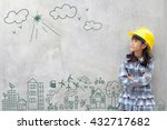 little girl engineering with... | Shutterstock . vector #432717682