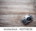 old retro camera on vintage... | Shutterstock . vector #432718126