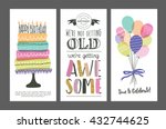 set of birthday greeting cards... | Shutterstock .eps vector #432744625