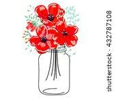 Poppy Flowers In Mason Jar