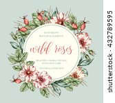hand drawn floral frame with... | Shutterstock .eps vector #432789595