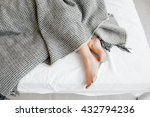 female feet under blanket flat... | Shutterstock . vector #432794236