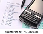 mobile phone and to do list | Shutterstock . vector #43280188