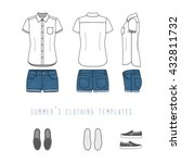 women's clothing set of blue... | Shutterstock .eps vector #432811732