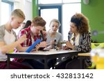 students sitting with teacher...   Shutterstock . vector #432813142