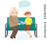 grandfather with tablet.... | Shutterstock .eps vector #432819505