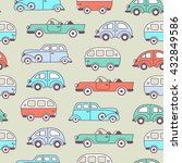retro cars and vans seamless... | Shutterstock .eps vector #432849586