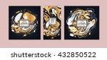 vector set ink texture ... | Shutterstock .eps vector #432850522