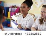 two primary school girls in... | Shutterstock . vector #432862882