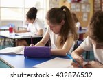 two kids working at their desks ... | Shutterstock . vector #432876532