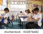 pupils in a lesson at a primary ... | Shutterstock . vector #432876682