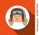 child with pilot cap design  | Shutterstock .eps vector #432897946